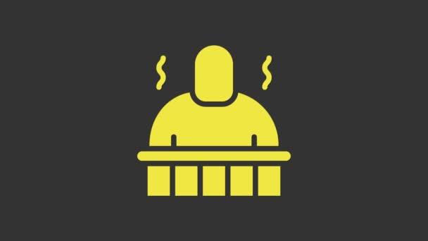 Ikona Žlutá sauna a lázeňské procedury izolované na šedém pozadí. Relaxační péče o tělo a terapie, aromaterapie a wellness. Grafická animace pohybu videa 4K