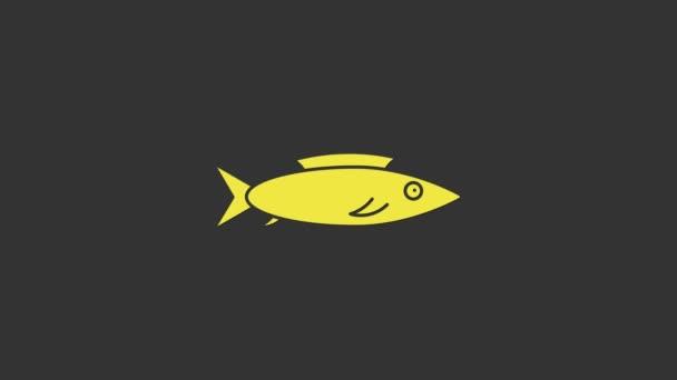 Sárga hal ikon elszigetelt szürke háttér. 4K Videó mozgás grafikus animáció