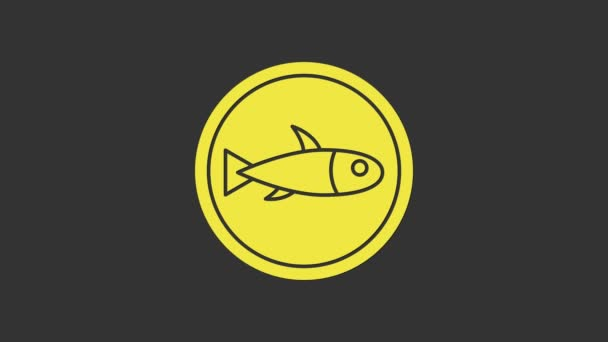 Yellow Served fish on a plate icon isolated on grey background. 4K Video motion graphic animation