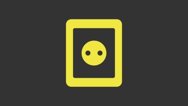 Sárga Elektromos kimeneti ikon elszigetelt szürke alapon. A konnektor. Rosette szimbólum. 4K Videó mozgás grafikus animáció