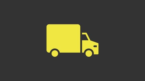 Žlutá Dodávka nákladní vůz ikona izolované na šedém pozadí. Grafická animace pohybu videa 4K