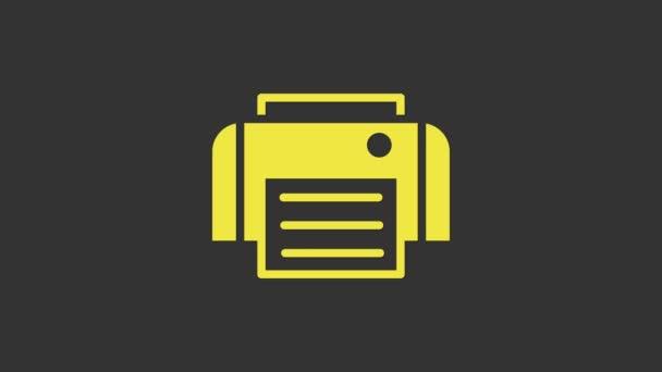 Gelbes Druckersymbol isoliert auf grauem Hintergrund. 4K Video Motion Grafik Animation