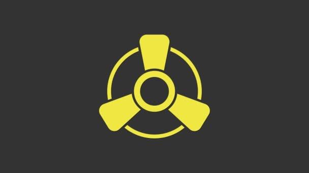 Yellow Car Motor Ventilator Symbol isoliert auf grauem Hintergrund. 4K Video Motion Grafik Animation