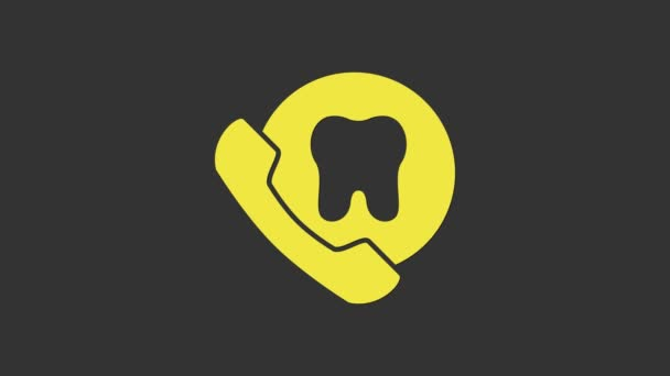 Yellow Online dental care icon isolated on grey background. Dental service information call center. 4K Video motion graphic animation