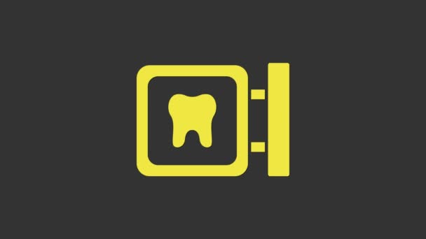 Yellow Dental clinic location icon isolated on grey background. 4K Video motion graphic animation