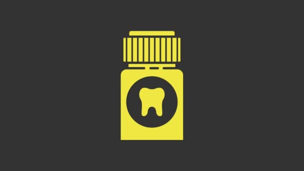 Yellow Toothache painkiller tablet icon isolated on grey background. Tooth care medicine. Capsule pill and drug. Pharmacy design. 4K Video motion graphic animation