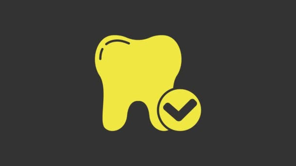 Yellow Tooth whitening concept icon isolated on grey background. Tooth symbol for dentistry clinic or dentist medical center. 4K Video motion graphic animation