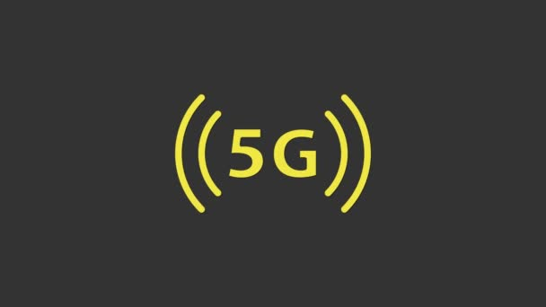 Yellow 5G new wireless internet wifi connection icon isolated on grey background. Global network high speed connection data rate technology. 4K Video motion graphic animation