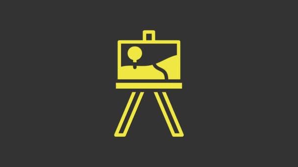 Žlutý stojan na dřevo nebo malířské desky ikona izolované na šedém pozadí. Grafická animace pohybu videa 4K