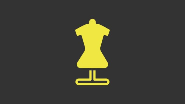 Yellow Mannequin icon isolated on grey background. Tailor dummy. 4K Video motion graphic animation