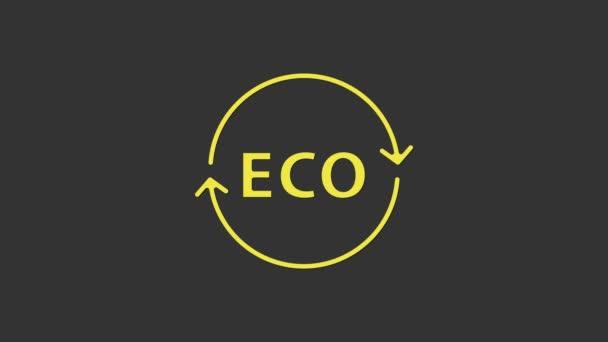 Žlutý Banner, štítek, štítek, logo pro ekologicky zelené zdravé potraviny ikona izolované na šedém pozadí. Ekologický produkt. Zdravá nálepka na jídlo. Grafická animace pohybu videa 4K