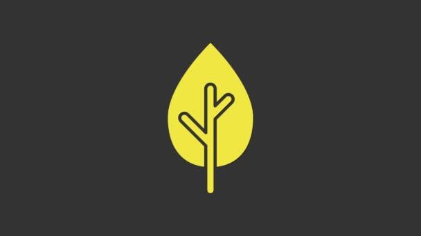 Sárga fa ikon elszigetelt szürke háttér. Erdőszimbólum. 4K Videó mozgás grafikus animáció