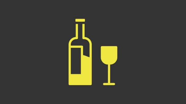Yellow Wine bottle with glass icon isolated on grey background. 4K Video motion graphic animation