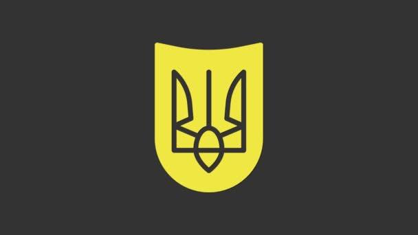Yellow National emblem of Ukraine icon isolated on grey background. Ukrainian trident. 4K Video motion graphic animation