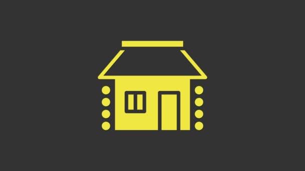 Gelbes altes ukrainisches Häusersymbol isoliert auf grauem Hintergrund. Traditionelles Dorfhaus. 4K Video Motion Grafik Animation