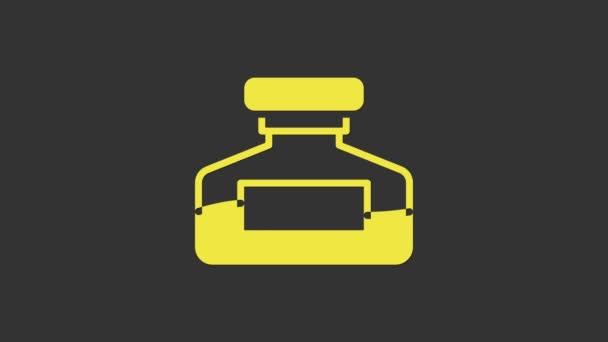 Yellow Ink Flasche Symbol isoliert auf grauem Hintergrund. Kalligrafie-Zubehör für Füller. 4K Video Motion Grafik Animation