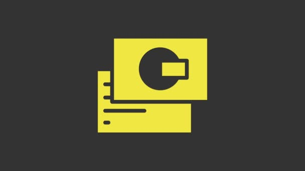 Sárga Visiting kártya, névjegykártya ikon elszigetelt szürke alapon. Vállalati azonosító sablon. 4K Videó mozgás grafikus animáció