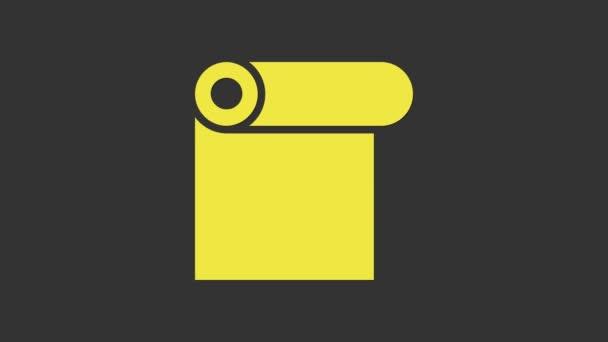 Gelbe Papierrolle isoliert auf grauem Hintergrund. 4K Video Motion Grafik Animation