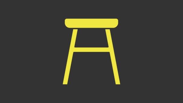 Sárga szék ikon elszigetelt szürke háttér. 4K Videó mozgás grafikus animáció