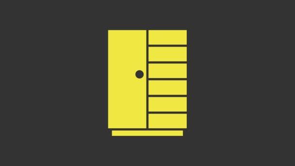 Gelbes Kleiderschrank-Symbol isoliert auf grauem Hintergrund. 4K Video Motion Grafik Animation