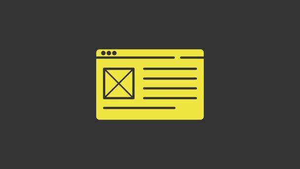 Sárga Böngésző ablak ikon elszigetelt szürke háttér. 4K Videó mozgás grafikus animáció