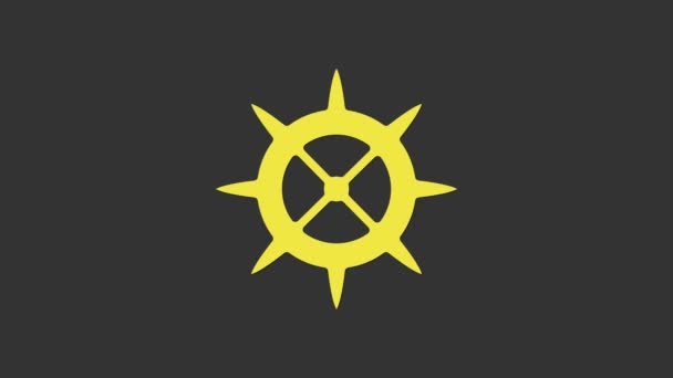 Yellow Bicycle sprocket crank icon isolated on grey background. 4K Video motion graphic animation