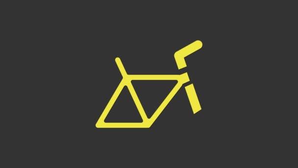 Žluté kolo rám ikona izolované na šedém pozadí. Grafická animace pohybu videa 4K