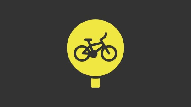 Yellow Bicycle icon isolated on grey background. Bike race. Extreme sport. Sport equipment. 4K Video motion graphic animation
