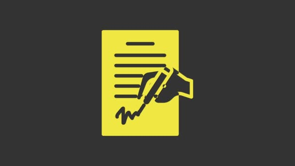 Yellow Petition icon isolated on grey background. 4K Video motion graphic animation