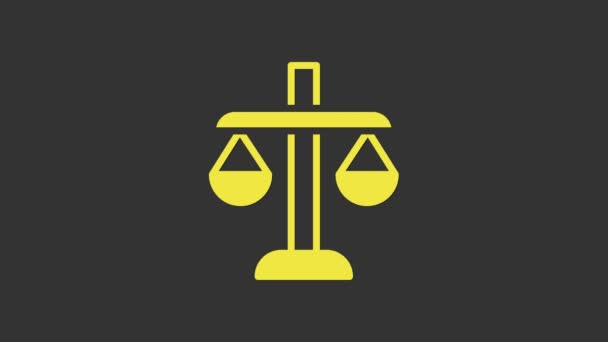 Yellow Scales of justice icon isolated on grey background. Court of law symbol. Balance scale sign. 4K Video motion graphic animation