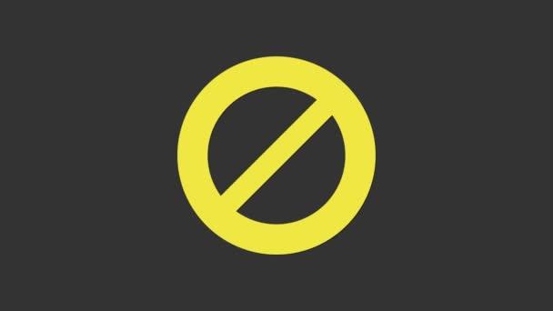 Ikona žlutého zákazu izolovaná na šedém pozadí. Zastavit symbol. Grafická animace pohybu videa 4K
