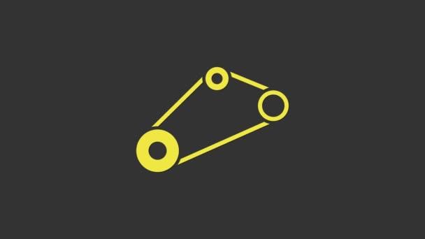Ikona žlutého časovacího pásu izolovaná na šedém pozadí. Grafická animace pohybu videa 4K