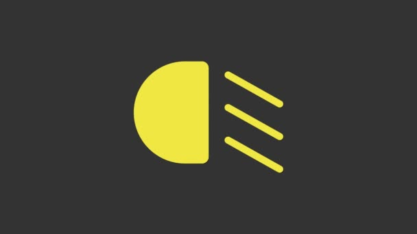 Yellow High beam icon isolated on grey background. Car headlight. 4K Video motion graphic animation
