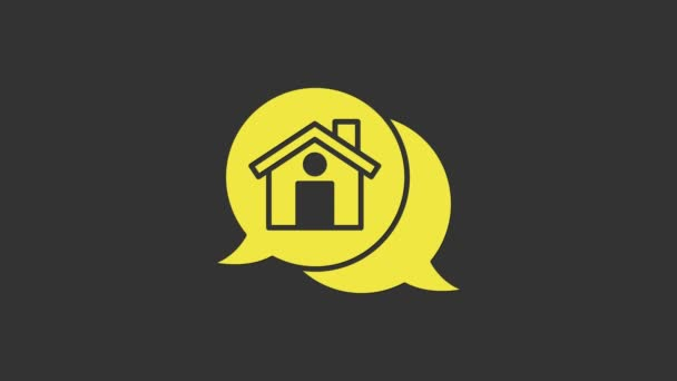 Yellow Real estate message house in speech bubble icon isolated on grey background. 4K Video motion graphic animation