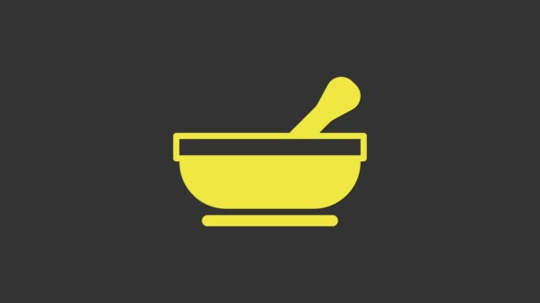 Yellow Mortar and pestle icon isolated on grey background. 4K Video motion graphic animation