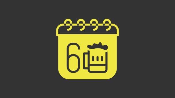 Žluté Saint Patricks den s ikonou kalendáře izolované na šedém pozadí. Čtyřlístek jetele. Datum 17. března. Grafická animace pohybu videa 4K