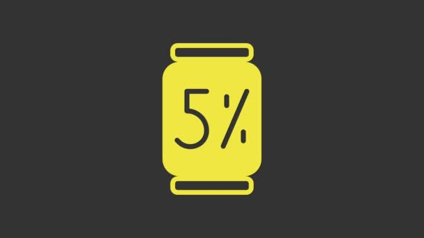 Yellow Beer can icon isolated on grey background. 4K Video motion graphic animation