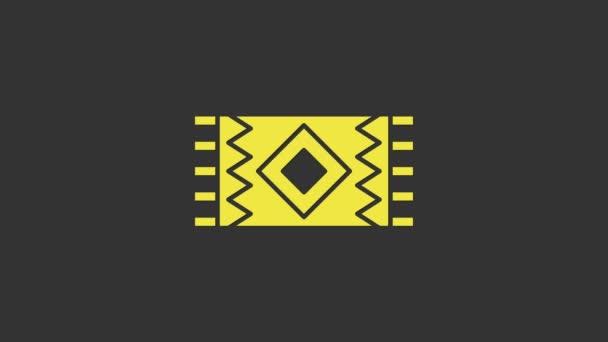 Sárga mexikói szőnyeg ikon elszigetelt szürke háttér. 4K Videó mozgás grafikus animáció