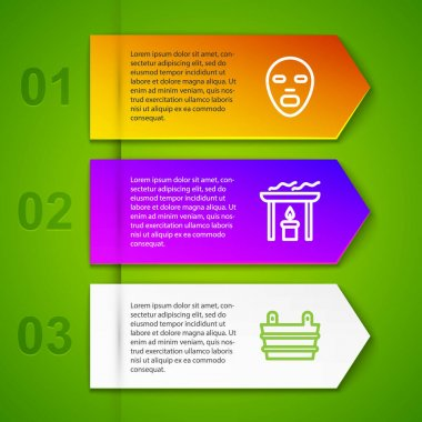 Set line Facial cosmetic mask, Aroma candle and Sauna bucket. Business infographic template. Vector icon
