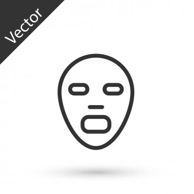 Grey line Facial cosmetic mask icon isolated on white background. Cosmetology, medicine and health care.  Vector icon