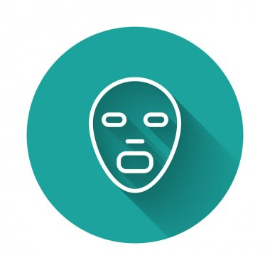 White line Facial cosmetic mask icon isolated with long shadow background. Cosmetology, medicine and health care. Green circle button. Vector icon