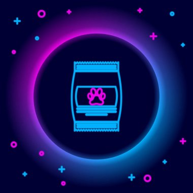 Glowing neon line Bag of food for pet icon isolated on black background. Food for animals. Pet food package. Dog or cat paw print. Colorful outline concept. Vector icon