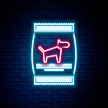 Glowing neon line Bag of food for dog icon isolated on brick wall background. Food for animals. Pet food package. Colorful outline concept. Vector icon