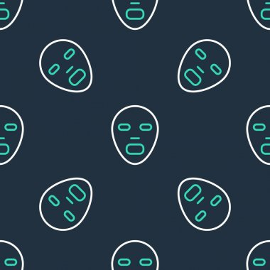 Line Facial cosmetic mask icon isolated seamless pattern on black background. Cosmetology, medicine and health care.  Vector icon