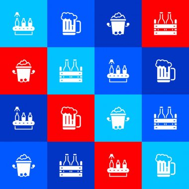 Set Conveyor band, beer, Wooden mug, Ice bucket and Pack of bottles icon. Vector icon