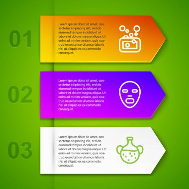 Set line Bar of soap, Facial cosmetic mask and Essential oil bottle. Business infographic template. Vector icon