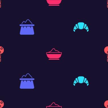 Set Croissant, Bag of flour, Flour bowl and Lollipop on seamless pattern. Vector icon