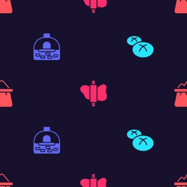 Set Bread loaf, Brick stove, Rolling pin on dough and Bag of flour on seamless pattern. Vector icon
