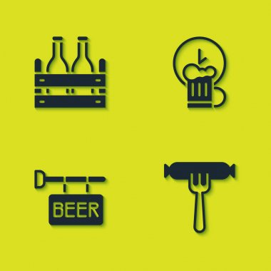 Set Pack of beer bottles, Sausage on the fork, Street signboard with Beer and Happy hour icon. Vector icon