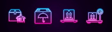 Set line Plane and cardboard box, Delivery package with umbrella, Cardboard boxes on pallet and Scale. Glowing neon icon. Vector. icon
